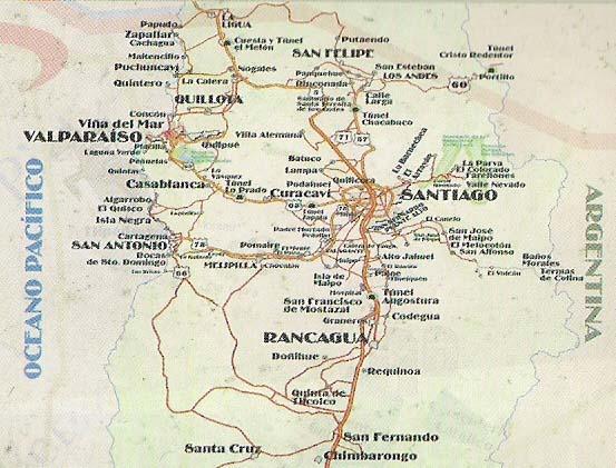 Travel chile site information offerings package excursion for Mapa de santiago de chile